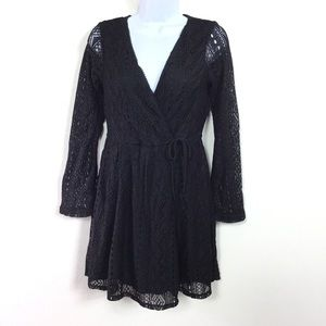 XHILARATION FAUX WRAP LACE DRESS
